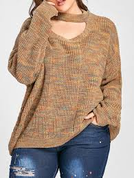 2018 plus size cut out neck drop shoulder ripped sweater light