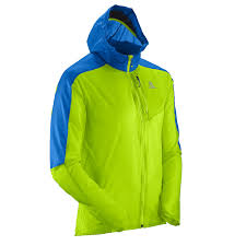 salomon fast wing men u0027s running jacket green blue