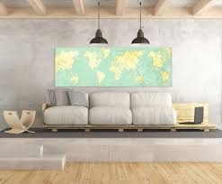 World Map Poster Large World Map Canvas Print Vintage Light Wall Art Mint Turquoise
