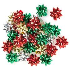 assorted mini metallic ribbon christmas gift bows pack of 30