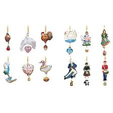 reed barton 12 days of ornaments set of 12