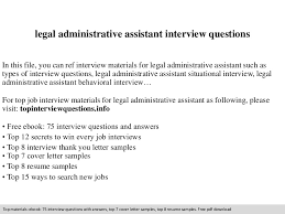 Legal Administrative Assistant Resume Sample by Legal Administrative Assistant Interview Questions