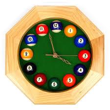 Wood Pool Table Amazon Com Trademark Octagonal Wood Billiards Quartz Wall Clock