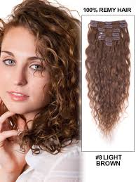 curly hair extensions clip in 8 light brown clip in on remy human hair extensions curly 7 pieces
