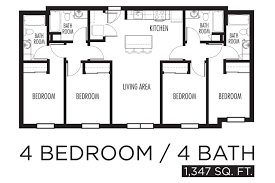 Cool Apartment Floor Plans by Four Bedroom Apartment Bibliafull Com