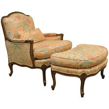 Ottoman Armchair 1950s Country Louis Xv Style Shell Carved Bergere Armchair