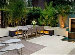 modern backyard idea with metal dining set and l shaped bench also