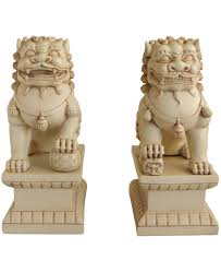 lion statues ivory colored guardian lion statues 18 inches