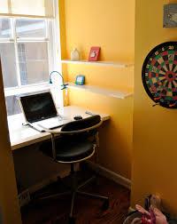 Floating Corner Desk by Furniture Rectangle Light Brown Wooden Floating Corner Desk With