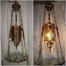 Chandelier Swag Lamp Vintage Hollywood Regency Hanging Table Lamp 1960s Chandelier Swag
