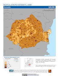 Romania Map Maps Population Density Grid V1 Sedac