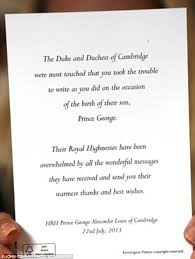 kate middleton and prince wiliam send thank you cards from