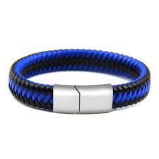 blue leather bracelet images Blue black braided leather bracelet jpg