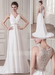 a line princess v neck court train chiffon wedding dress with