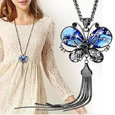 butterfly long chain necklace images Sansar india antique style butterfly blue crystal long chain jpg