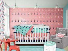chevron girls bedding sailor crib bedding coral navy mint green pink
