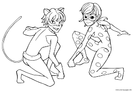 miraculous ladybug and cat noir team coloring pages printable