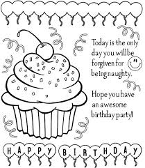 printable birthday cards coloring pages with ballon and cakes