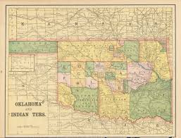 Oklahoma Counties Map Antique Maps Of Oklahoma