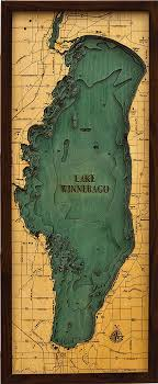 topo maps wisconsin custom wood charts of lake winnebago from carved lake