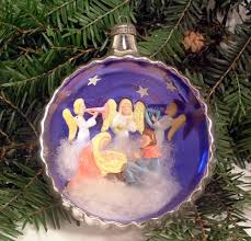 vintage italian silver mercury glass diorama christmas ornament