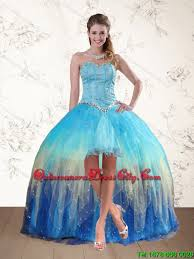 quince dama dresses 2015 baby blue sweetheart multi color dama dresses with ruffles
