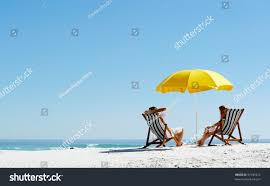 Beach Sun Umbrella Beach Summer Couple On Island Vacation Stock Photo 97745612