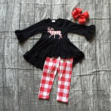 Baby girls winter outfits girls moose print dress top wtih plaid