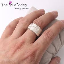 online get cheap engrave custom personalized rings for men solid silver arabic ring style engraved band custom name words personalized men jewelry
