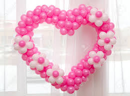 a wedding decoration many balloons in a shape stock