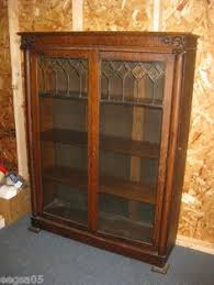 Oak Bookcases With Glass Doors Arts Crafts Bookcase With Leaded Glass Doors Sold At Auction