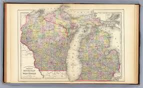 Map Of Wisconsin And Michigan by Michigan Wisconsin David Rumsey Historical Map Collection