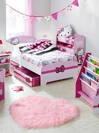 compact girly bedroom decoration for small space and pink shag rug