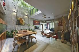 Tiny Pool House Plans Trees And Shrubs Create Faux Courtyard Inside House View In