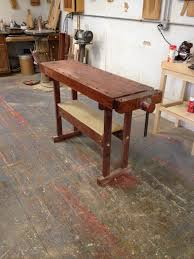 completed french oak roubo project bench furnituremaking i ve also got what is essentially a butcher block top with two jorgenson vises on it with a row of dog holes drilled in it 30 by 60 by 1 thick