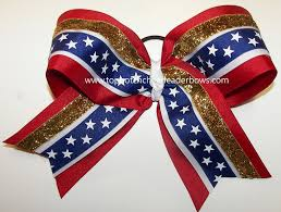 white and blue bows patriotic white blue gold big cheer bow