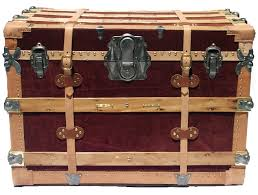 c 1920 vintage fancy red trunk omero home