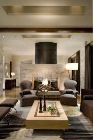 living room glossy black stone fireplace in asian inspired