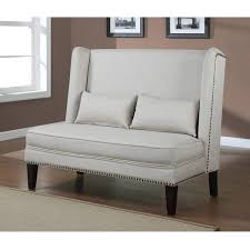 dining room loveseat charles bench dining chairs the sofa chair company beige linen