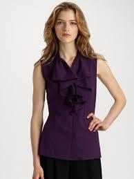 sleeveless ruffle blouse lyst lafayette 148 york briella stretch cotton sleeveless