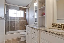 Bathroom Remodeling Ideas For Small Master Bathrooms Single Sink Vanity Cabinet White Beside Toilet Solid Wood Master