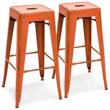 Industrial Metal Bar Stool 30 Set Of 2 Distressed Industrial Metal Bar Stools Orange