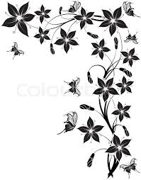 butterfly and flower designs drawing clipartxtras