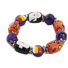 purple orange and black halloween glass beaded bracelet jewelry