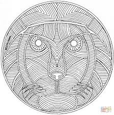 celtic mandala with lion face coloring page free printable