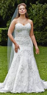 plus size fit and flare wedding dress picture of strapless lace jeweled wedding dress with a fit and