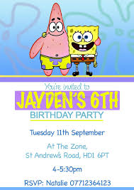spongebob birthday invitations 8 best birthday resource gallery