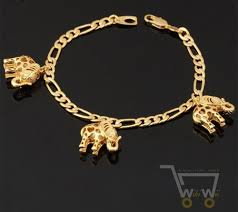 gold plated charm bracelet chain images 18k gold plated link chain lovely elephant bracelet jpg