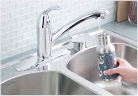 satin kitchen faucet water filter wide spread two handle side