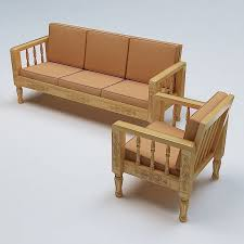 Wooden Sofa Set Pictures Sofa Set Wooden 3d Cgtrader